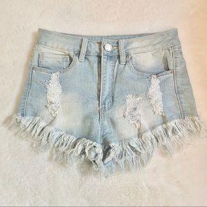 High Rise Frayed Hem Demin Shorts